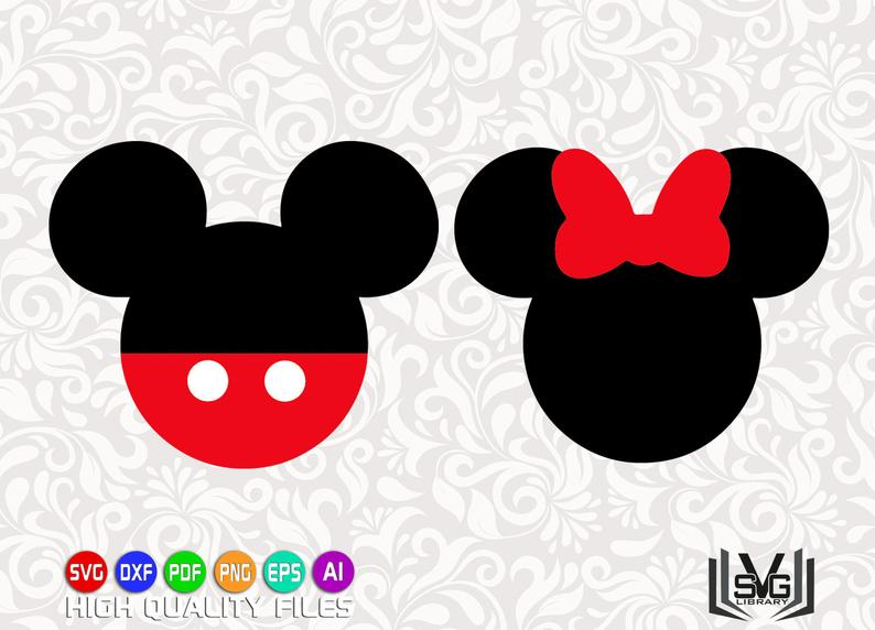 Mickey and Minnie heads SVG.