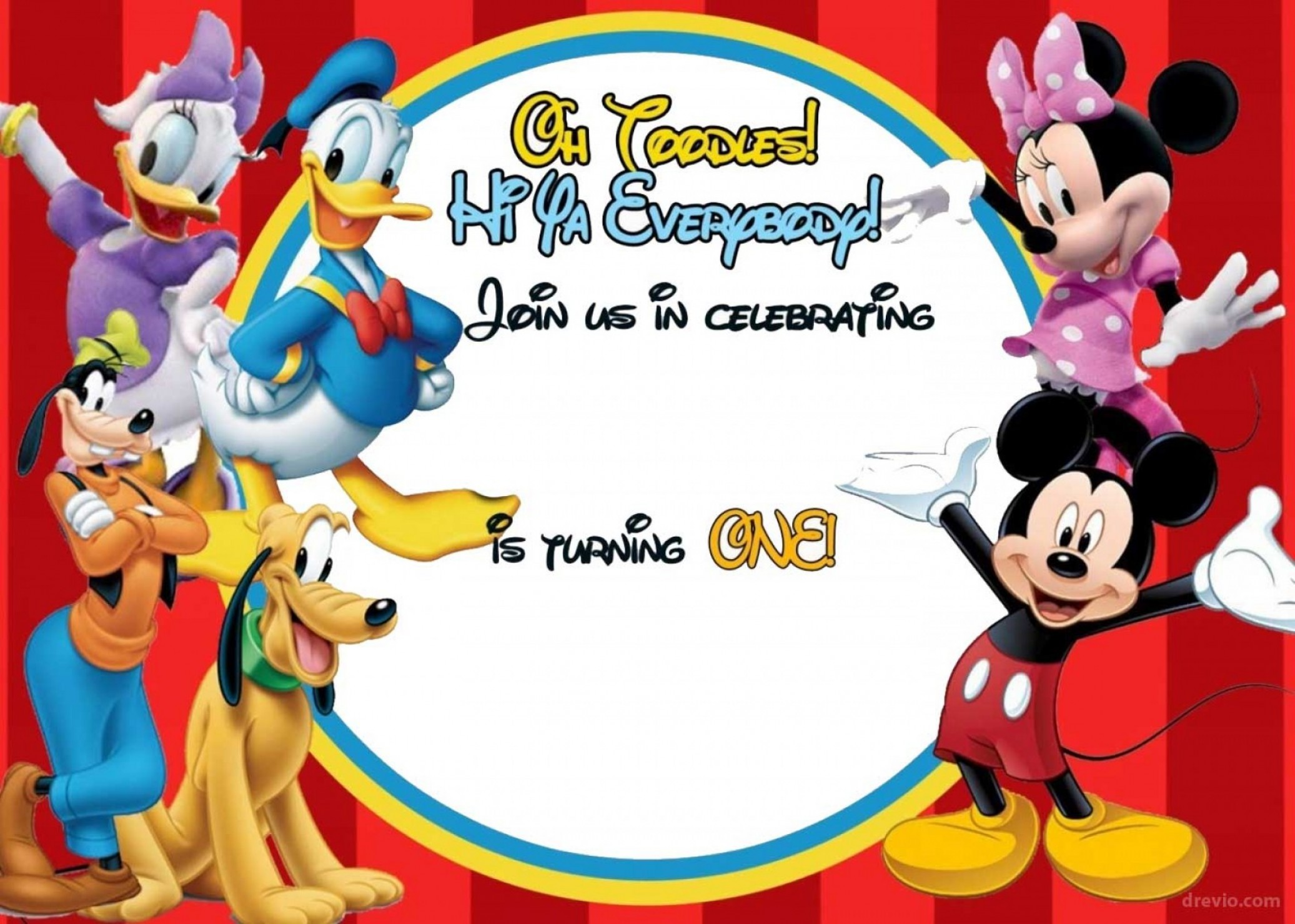 Free Mickey Mouse Clubhouse Birthday Invitations.