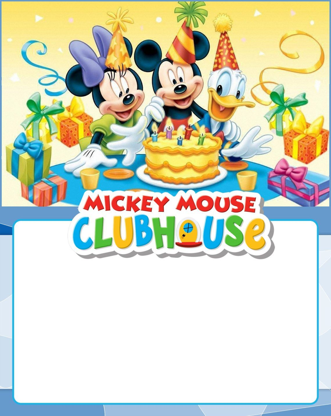 Free Printable Mickey Mouse Clubhouse Invitation.