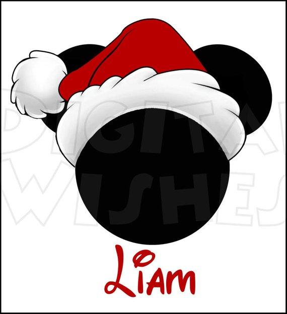 Mickey Mouse head ears Christmas Santa Hat Digital Iron on.