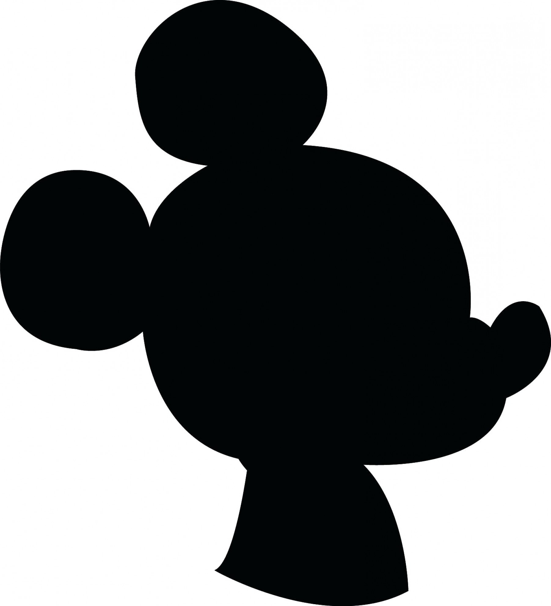 Silhouette Mickey Mouse Ears Head.