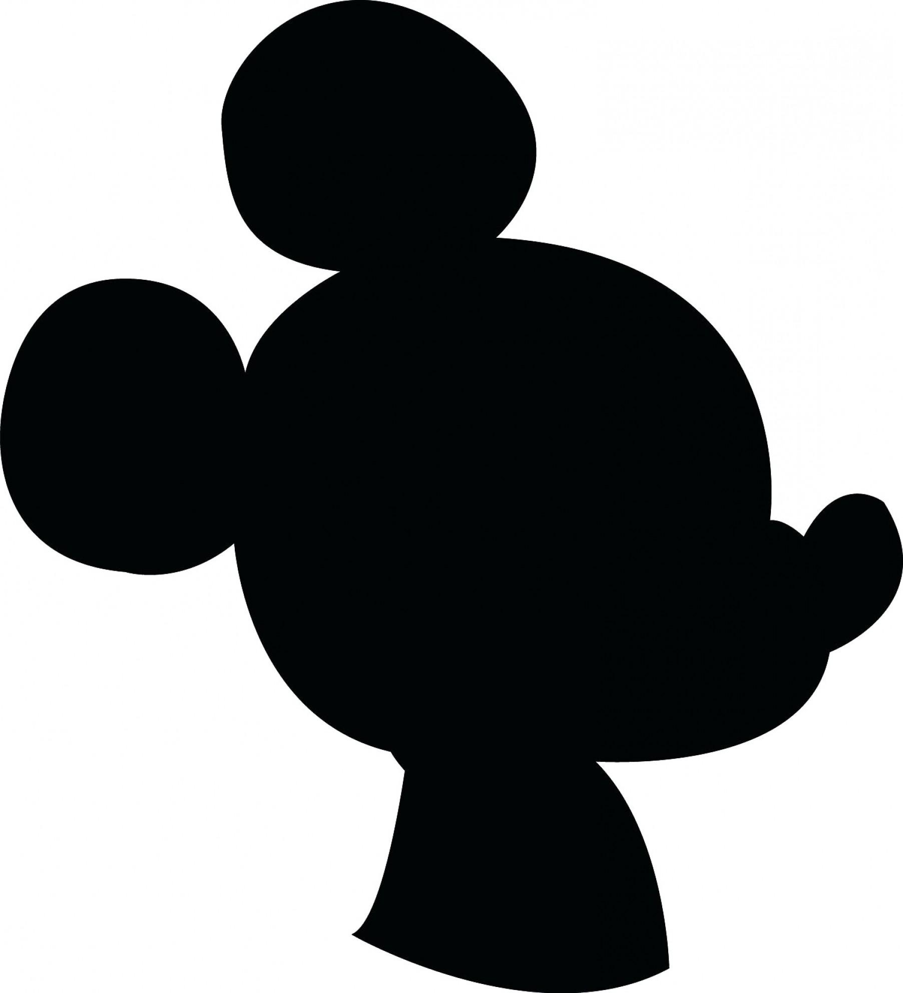 Silhouette Mickey Mouse Ears Head.