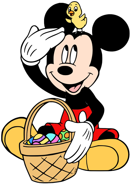 Clip art of Mickey Mouse sitting down with his Easter basket.