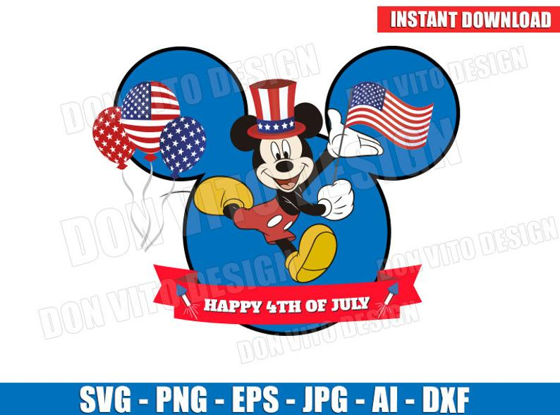 Mickey Mouse 4th of July (SVG dxf png) Disney USA Flag Head Ears Hat Cut  Files Vector Clipart T.