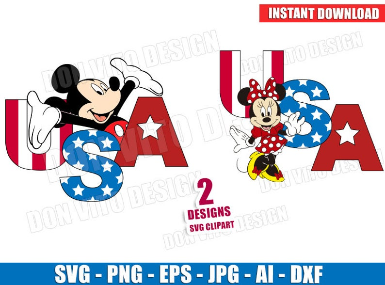 Mickey & Minnie Mouse 4th of July (SVG dxf png) Disney USA Holiday Cut  Files American Flag Vector Clipart T.