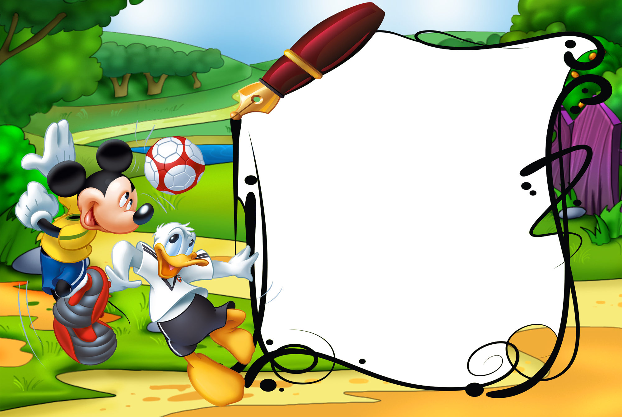 Mickey Mouse and Duck Kids Transparent PNG Photo Frame.