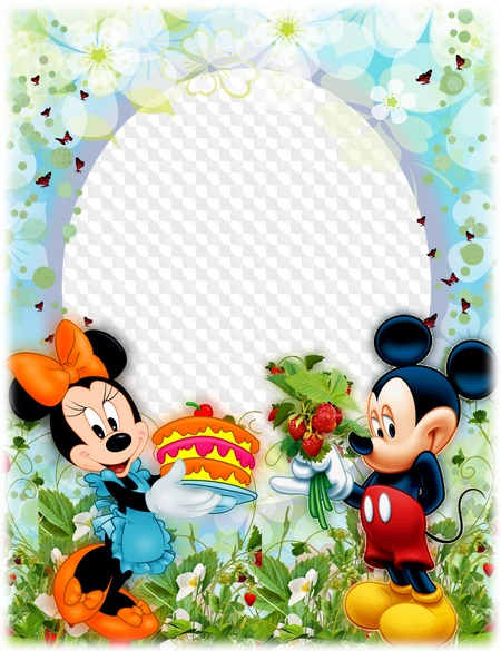 PSD, PNG, Photo frame, Birthday with Mickey Mouse.