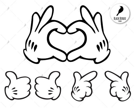 3 Mickey Mouse hands clipart and svg pack for scrapbooking.