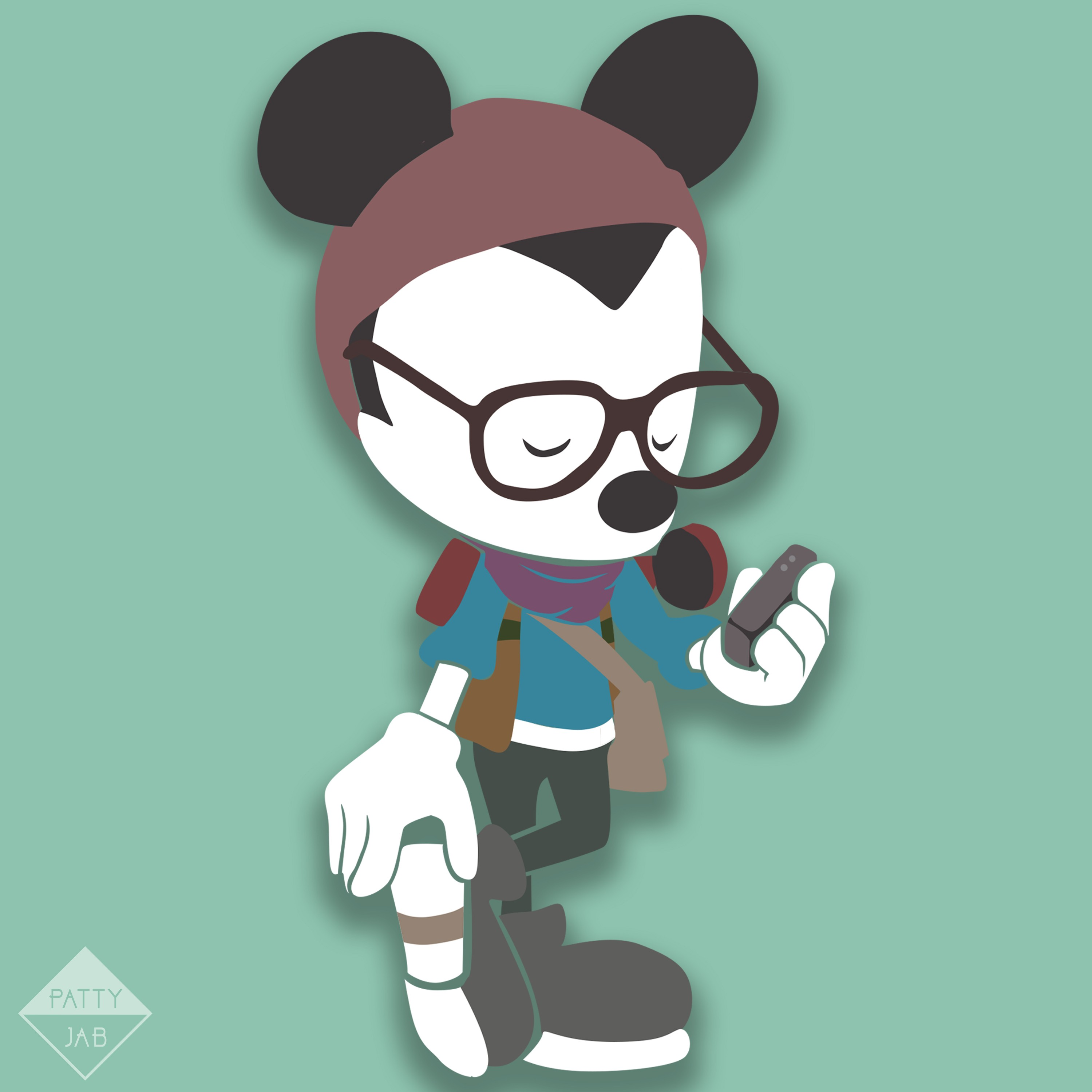 Hipster Mickey Mouse.
