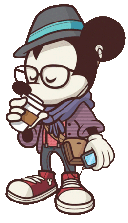 Hipster Mickey Mouse in 2019.