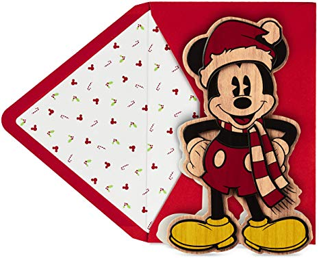 Hallmark Signature Disney Christmas Card (Wood Mickey Mouse).