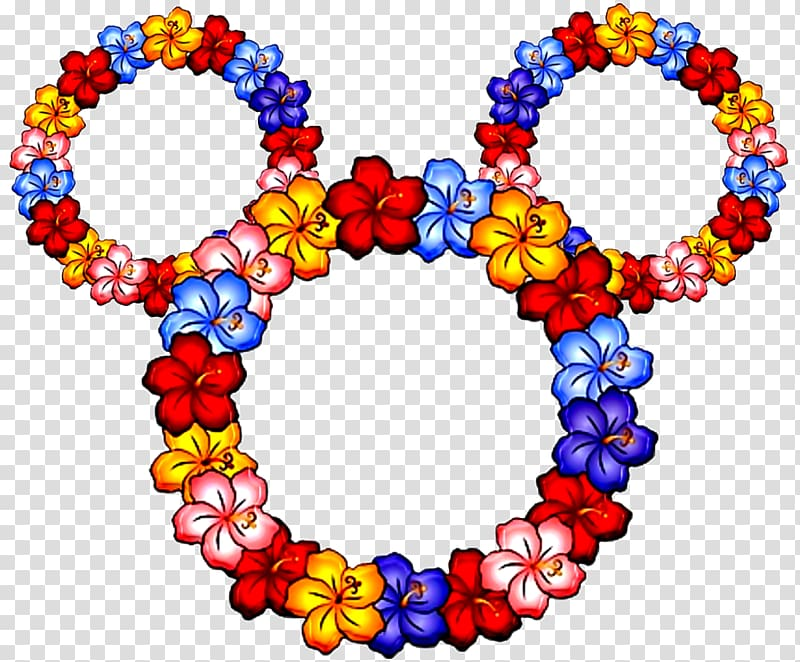 Hawaiian Lei , Mickey Mouse Head transparent background PNG.