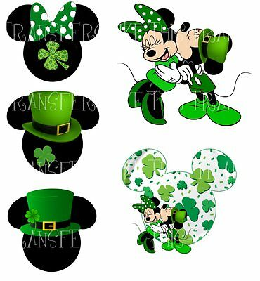 Details about MICKEY MINNIE MOUSE ST PATRICKS DAY IRON ON.