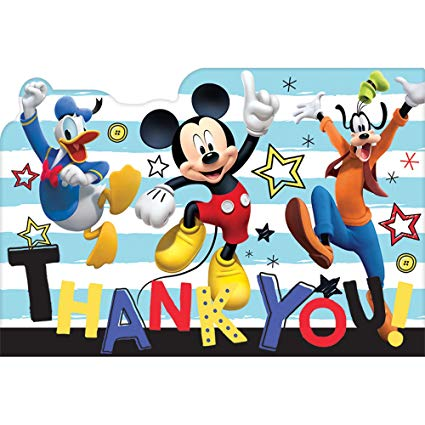 Amscan Mickey Mouse Party Supplies On The Go Thank You Cards (8).