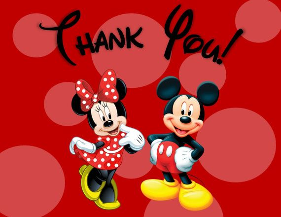 Minnie and MIckey Mouse Thank You Cards.
