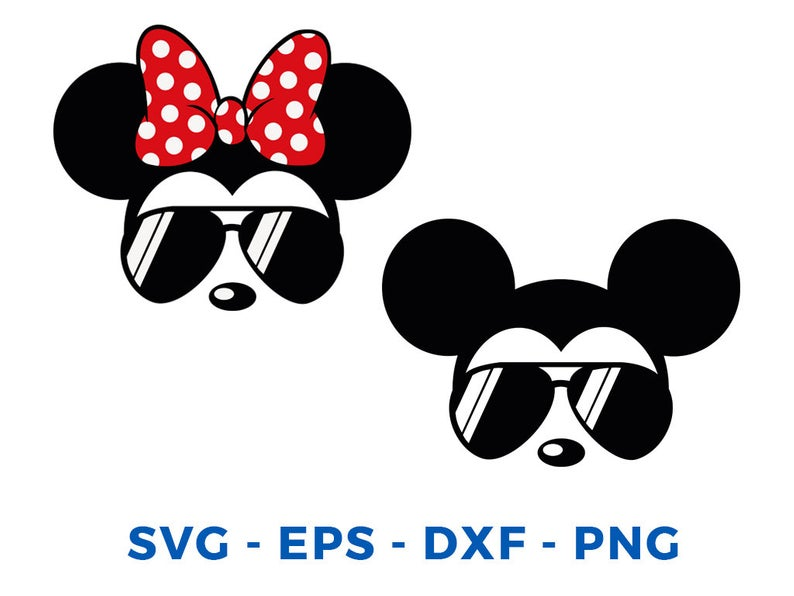 Mickey Minnie sunglasses svg Mickey Minnie Head Face svg png Cut File  Cricut Silhouette Cameo Vinyl Decal Disney Printable Tshirt Transfer.