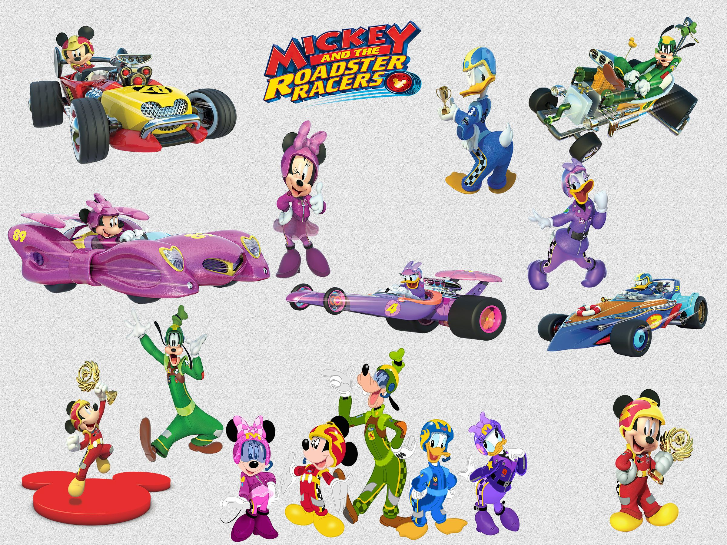 26 Mickey and the Roadster Racers Clipart, 300 DPI, PNG.