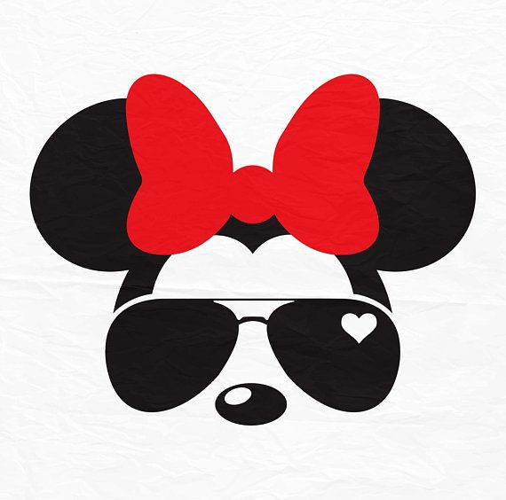 Minnie Mouse With Sunglasses Silhouette.