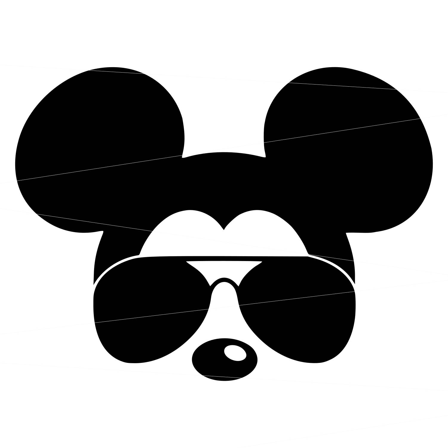 Mickey Mouse With Sunglasses Silhouette.