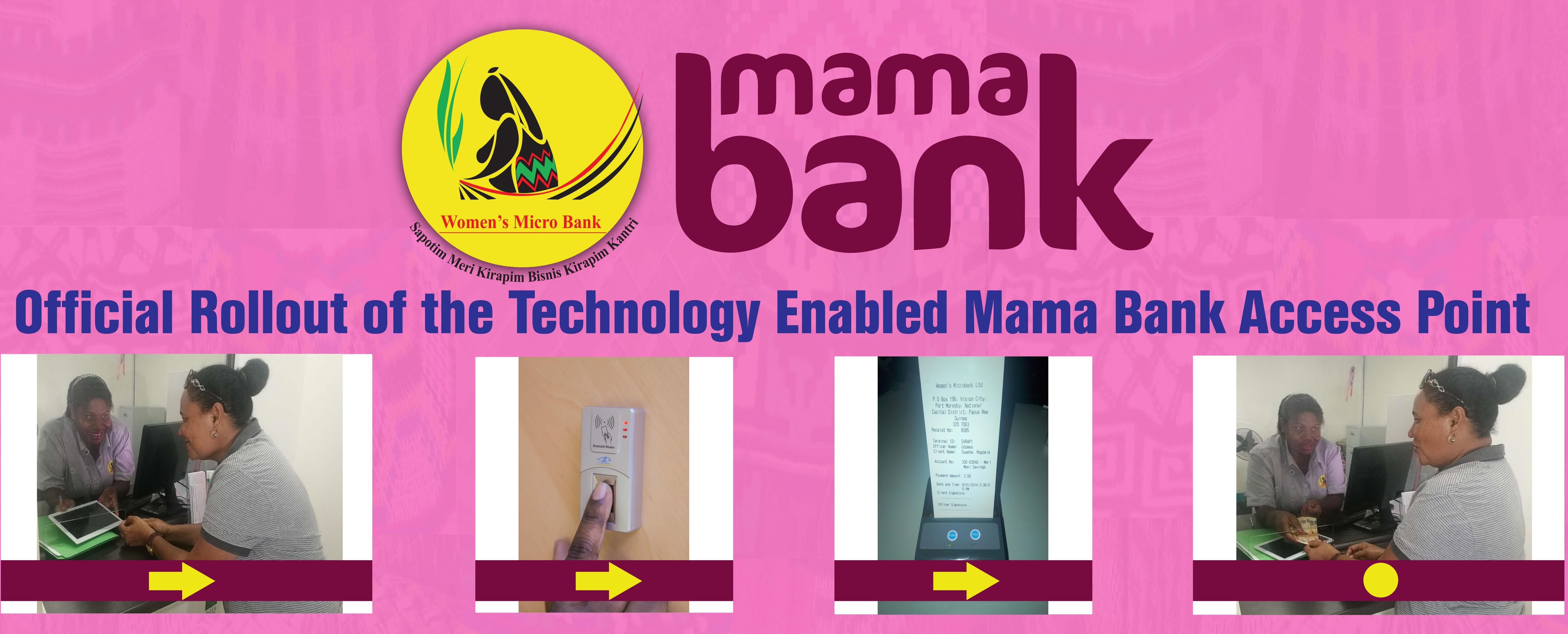Banking with your thumbprint at WMBL's Mama Bank Access.