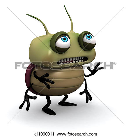 Clipart of sad green bug k11090011.