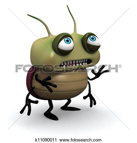 Clipart of sad green bug k11090011.