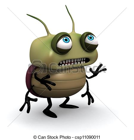 Clipart of sad green bug.