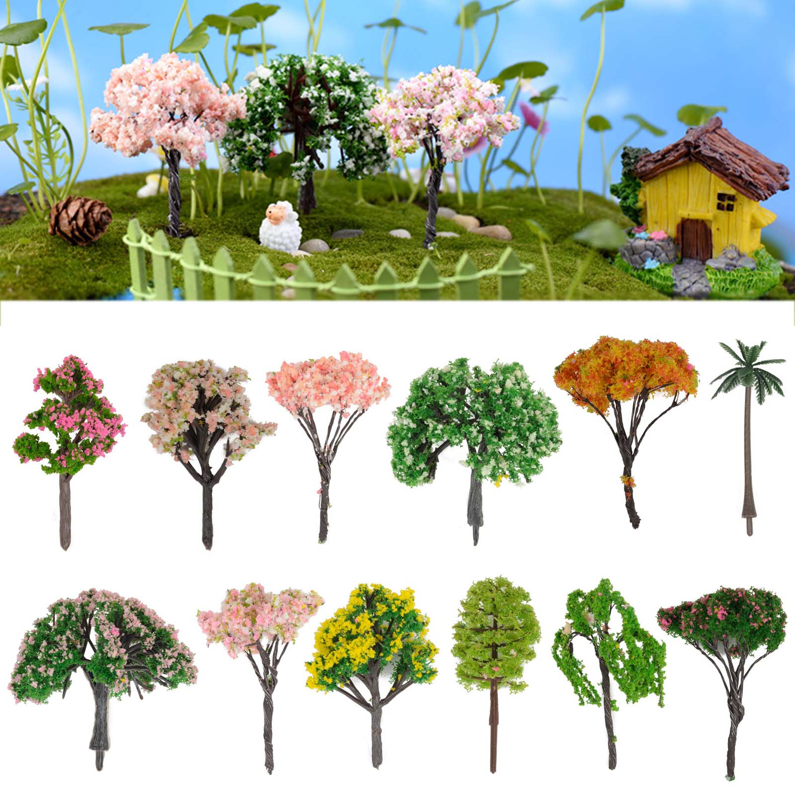 Miniature Sakura Tree Plants Fairy Garden Accessories Dollhouse.