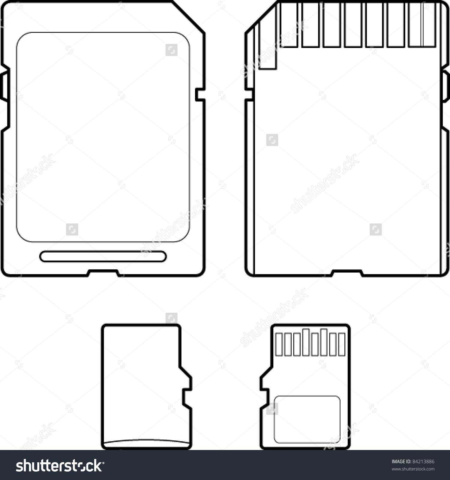 Secure Digital Micro Sd Flash Memory Stock Vector 84213886.