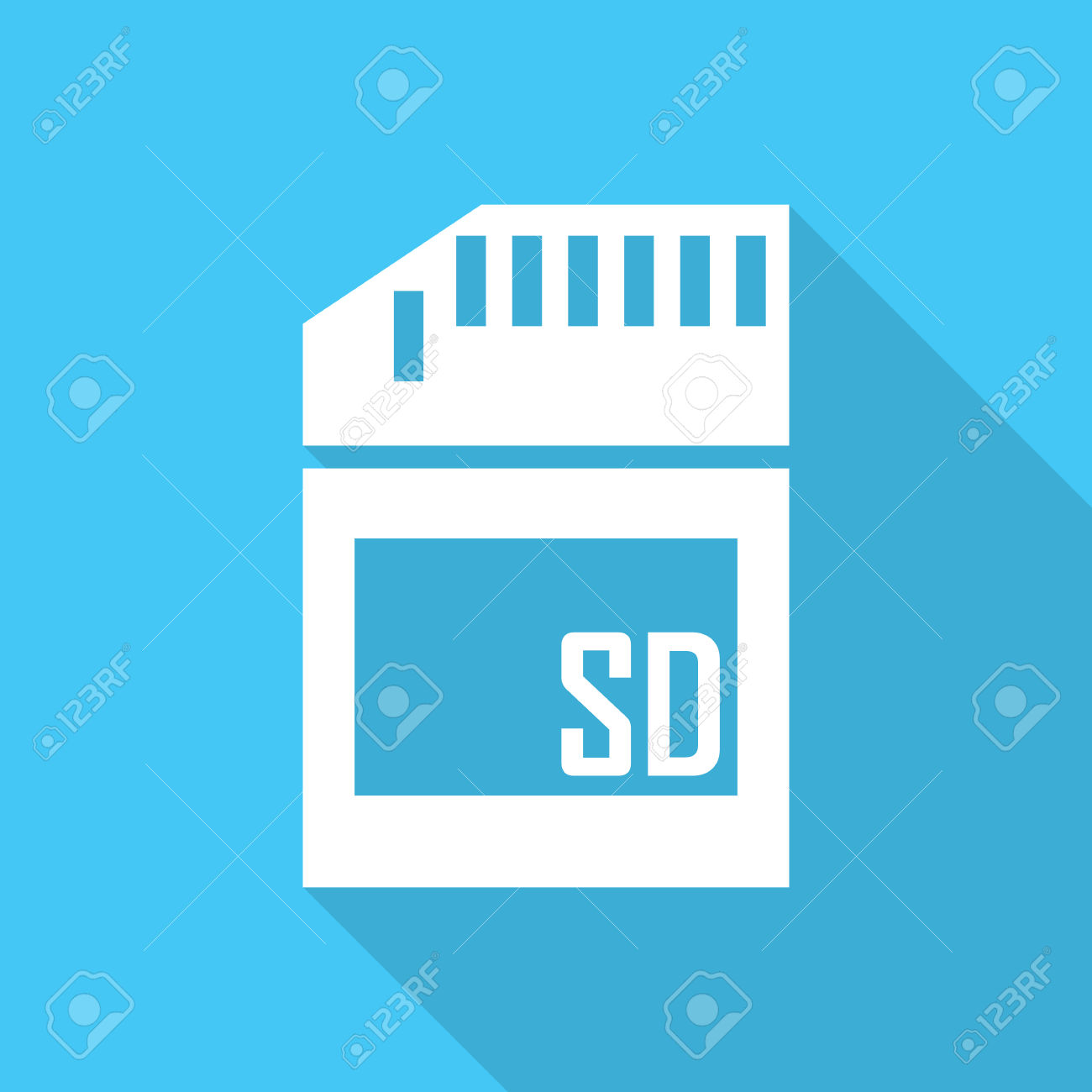 Micro Sd Card Icon With Long Shadow. Royalty Free Cliparts.