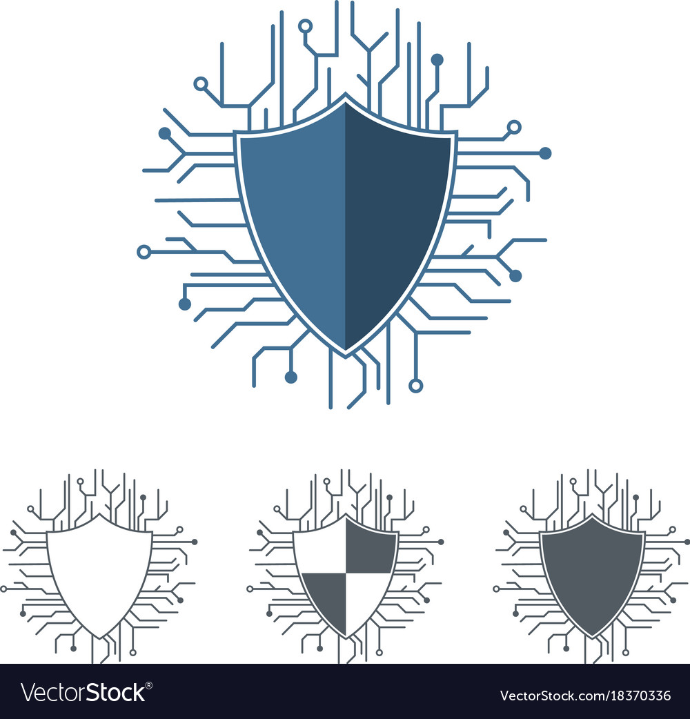 Internet protection logo template microchip lines.