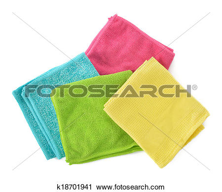 Stock Photography of Set of microfiber cleaning cloths isolated on.
