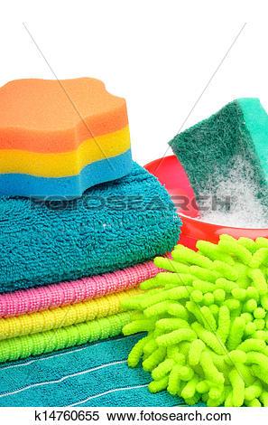 Stock Image of Towels, sponge, microfiber, bowl, supplies for.