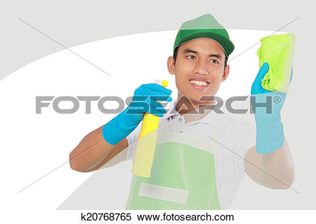 Stock Image of cleaning glass window using using Soft microfiber.