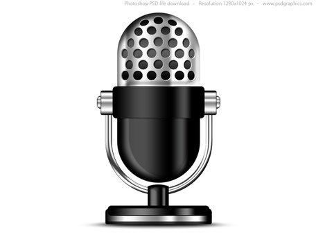 Antiguo icono de micrófono (PSD) Clipart Picture.