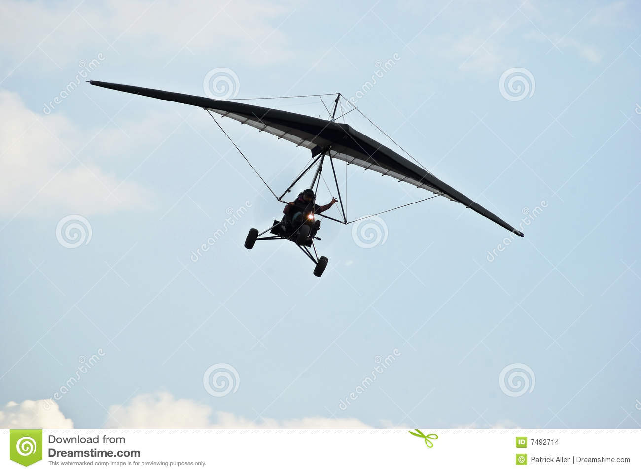 Motorized Hang Glider In Flight Stock Images.