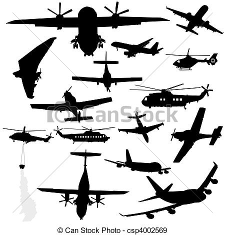 Stock Illustration of assorted plane helicopter silhouettes.