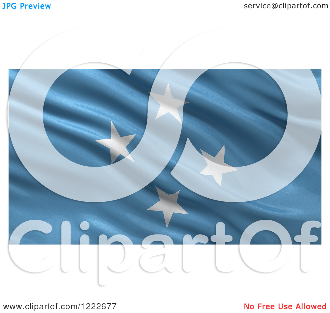 Clipart of a 3d Waving Flag of Micronesia with Rippled Fabric.