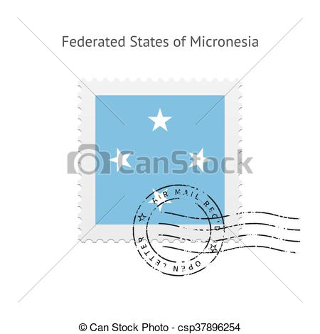 Clipart Vector of Micronesia Flag Postage Stamp..