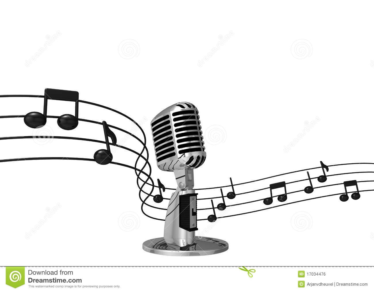 Microphone With Music Notes Clipart.
