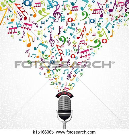 Clipart of Music notes microphone design k15166065.