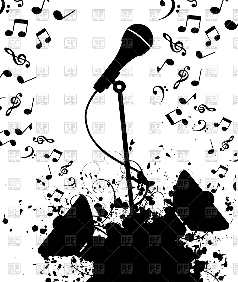 Microphone and columns with music notes Vector Image #79947.