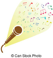 EPS Vector of microphone with music notes.