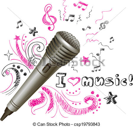 EPS Vector of Music doodle microphone.