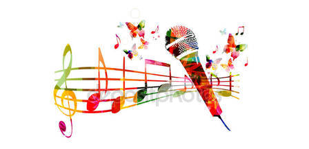 Colorful microphone and music notes — Stock Vector © abstract412.