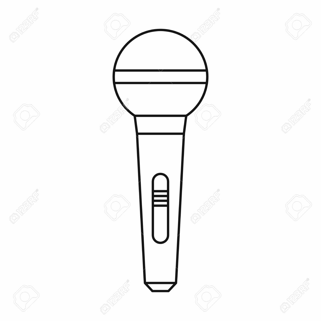Microphone icon in outline style isolated on white background.