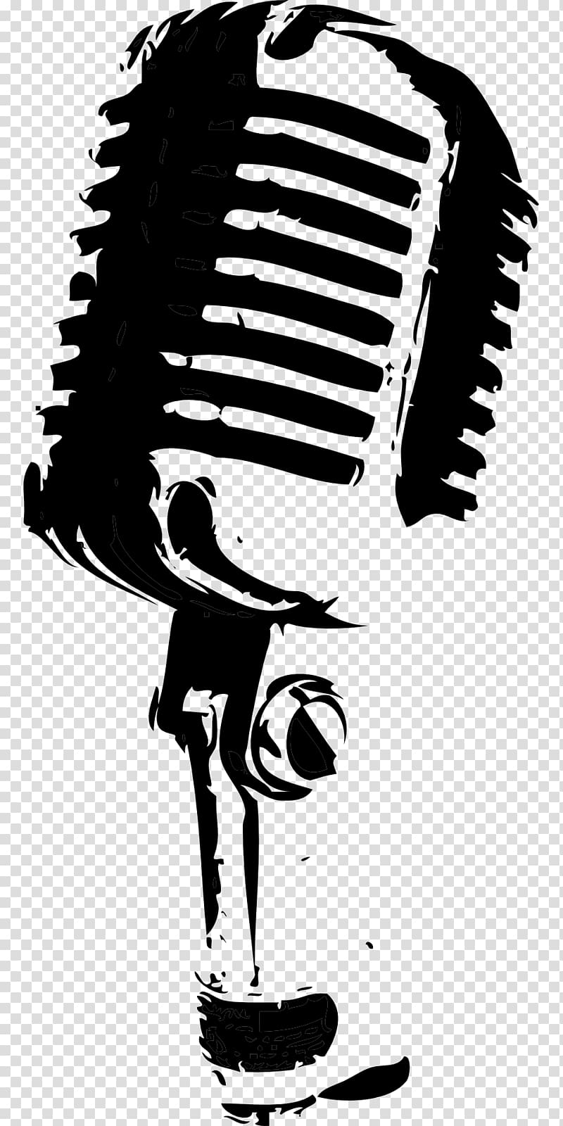 Microphone Drawing Black and white , mic transparent.