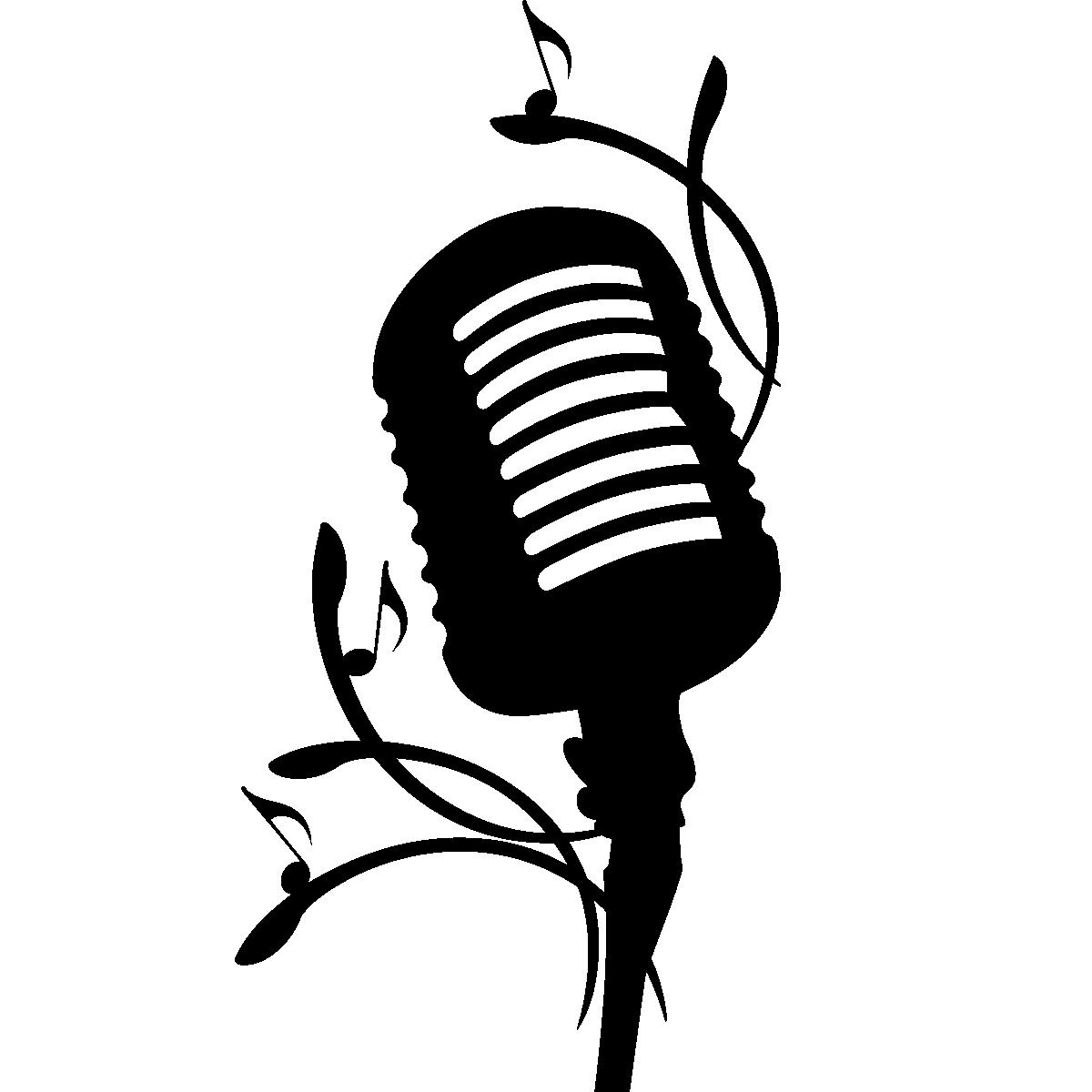 Microphone Silhouette Line Clip art.
