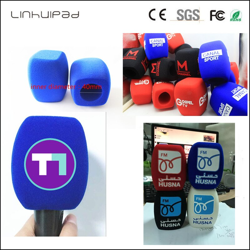 linhuipad white microphone covers print logo mic windscreens customized  Winds Handheld microphone sponge for outdoor interview.