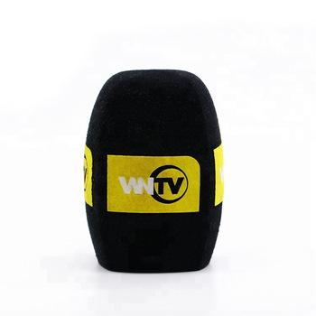 Black Microphone Sponge Printing Covers Print Logo Mic Foam Cover Custom  Sponge Microphone Foam Windscreen For Microphone.